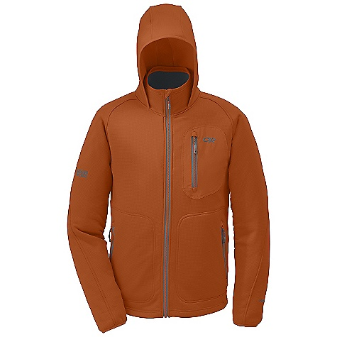 Free Shipping. Outdoor Research Men's Powerhouse Hoody DECENT FEATURES of the Outdoor Research Men's Powerhouse Hoody Windproof Weather resistant Stand-up collar Hanging hood Three pockets: Chest and two hand Lycra bindings: Cuffs and hood Dual drawcord adjustment The SPECS Weight: (L): 23.7 oz / 672 g Fit: Trim Center Back Length: 28 1/2in. / 73 cm Fabric: 90% polyester / 10% spandex knit Polartec Wind Pro Chest Pocket: 91% Nylon / 9% Lycra stretch woven This product can only be shipped within the United States. Please don't hate us. - $224.95