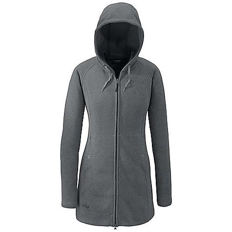 Free Shipping. Outdoor Research Women's Longitude Hoody DECENT FEATURES of the Outdoor Research Women's Longitude Hoody Lightweight Quick Drying Wicking Full Center Front Zipper Internal Front-Zip Stormflap Oversized and Adjustable Hood Dual Hand Warmer Pockets Flatlock Seams Thigh-Length Cut The SPECS Weight (M): 20.4 oz / 577 g Standard Fit Center Back Length: 31 3/4in. / 81 cm 100% polyester sweater-knit heathered fleece This product can only be shipped within the United States. Please don't hate us. - $134.95
