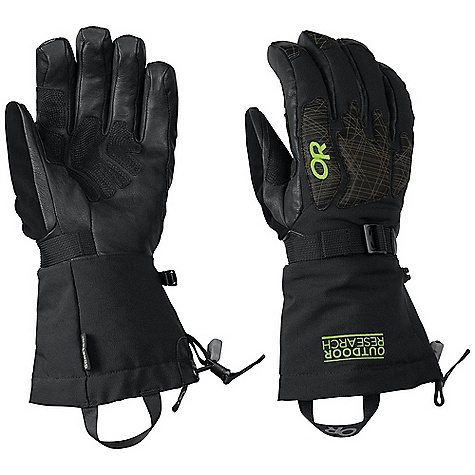 On Sale. Free Shipping. Outdoor Research Remote Glove DECENT FEATURES of the Outdoor Research Men's Remote Glove Laser-etched leather at back of hand and fingertips Primaloft insulation: 340g / 10oz on back of hand; 170g / 5oz on palm Leather palm, fingers and thumb Reinforced leather palm panel FlexAction wrist articulation SuperCinch gauntlet closure Removable idiot cord Ladder-lock wrist cinch with easy-grip tab Soft nose wipe on thumb The SPECS Weight: (L, per pair) 10.0 oz / 284 g Fabric: Waterproof/breathable Gore-Tex insert Durable, stretch-woven nylon across back of hand and gauntlet This product can only be shipped within the United States. Please don't hate us. - $102.99