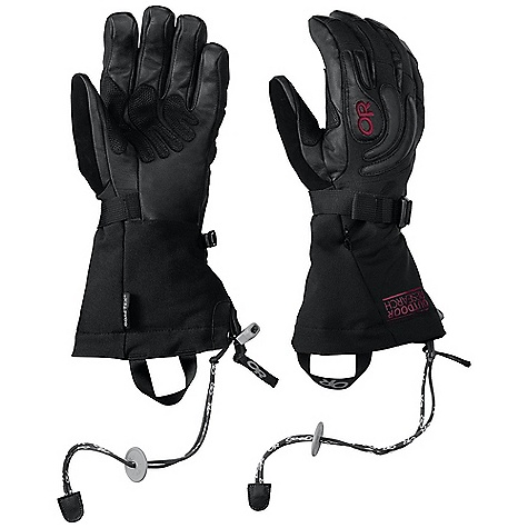 Free Shipping. Outdoor Research Women's Remote Glove DECENT FEATURES of the Outdoor Research Women's Remote Glove Primaloft insulation: 340g / 10oz on back of hand; 170g / 5oz on palm Leather palm, fingers and thumb Reinforced leather palm panel FlexAction wrist articulation SuperCinch gauntlet closure Removable idiot cord Ladder-lock wrist cinch with easy-grip tab Soft nose wipe on thumb The SPECS Weight: (M, per pair) 8.5 oz / 240 g Fabric: Waterproof/breathable Gore-Tex insert Durable, stretch-woven nylon across back of hand and gauntlet This product can only be shipped within the United States. Please don't hate us. - $158.95
