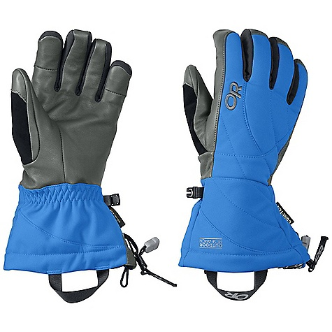 Ski Features of the Outdoor Research Women's Southback Glove Waterproof Windproof Breathable Wicking Soft and Tactile Leather Palm SuperCinch gauntlet Closure Removable Idiot Cord Nose Wipe on Thumb Pull Loop 265 g back of hand 133 g on palm Pre-curved Construction - $90.00