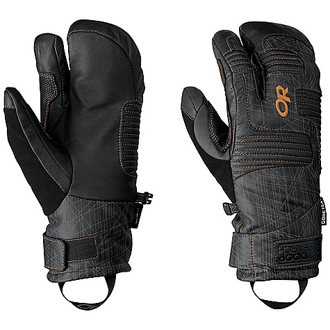 On Sale. Free Shipping. Outdoor Research Men's Point'n Chute 3-Finger Glove DECENT FEATURES of the Outdoor Research Men's Point'n Chute 3-Finger Glove Waterproof Windproof Breathable Wicking Soft and Tactile Leather Palm Leather Overlays on Palm for Durability Back-of-Hand EVA Foam Padding Hook and Loop Wrist Closure Nose Wipe on Thumb Pull Loop Under cuff Construction The SPECS Weight: (L, per pair): 7.1 oz / 200 g Comfort Range: -5/25deg F / -21/-4deg C Gore-Tex insert PrimaLoft 100% polyester insulation, PrimaLoft One insulation, 266 g at back of hand PrimaLoft Sport 100% Insulation: 170 g at palm Goat leather palm and back of hand Gore-Tex Fixed Insulation Leather Palm This product can only be shipped within the United States. Please don't hate us. - $94.99