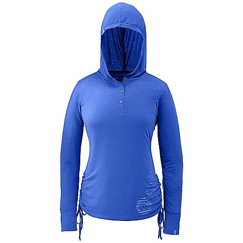 Free Shipping. Outdoor Research Women's Essence Hooded Henley DECENT FEATURES of the Outdoor Research Women's Essence Hooded Henley Lightweight Quick Drying Wicking Button Neck Placket Fresh Guard Odor Neutralization Zippered Wrist Pocket Graphic Treatment at Left Hem Relaxed Fit Hood Side Ties for Ruching The SPECS Weight (M): 7.6 oz / 215 g Standard Fit Center Back Length: 26 3/4in. / 68 cm Drirelease Wool: 88% polyester, 12% merino wool fabric This product can only be shipped within the United States. Please don't hate us. - $64.95