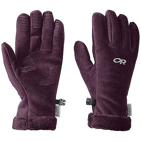 Features of the Outdoor Research Women's Fuzzy Glove Breathable Wicking Quick Drying Silicone Grip Pads on Palm and Finger Tips Leather Grab Tab at Wrist Pull Loop Glove Clip - $22.99