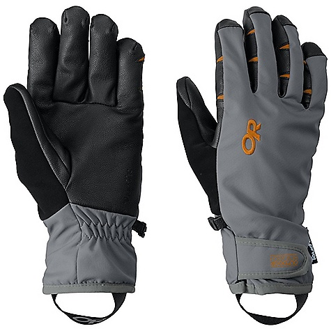 On Sale. Free Shipping. Outdoor Research Men's Stormsensor Glove DECENT FEATURES of the Outdoor Research Men's Stormsensor Glove Water Resistant Wind Resistant Breathable Wicking Quick Drying Touch-Screen Compatible Soft and Tactile Leather Palm Microfleece Lined Shell Pre-Curved Construction Hook and Loop Wrist Closure Pull Loop The SPECS Weight: (L, per pair): 4.1 oz / 116 g Comfort Range: 10/30deg F / -12/-1deg C 100% nylon softshell outer 100% polyester liner TouchTec goat leather palm Leather Palm Touchscreen This product can only be shipped within the United States. Please don't hate us. - $50.99
