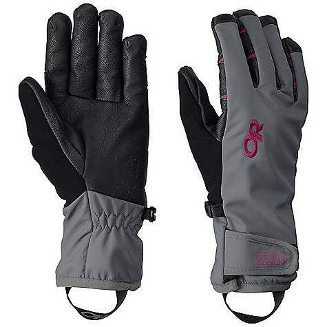 On Sale. Free Shipping. Outdoor Research Women's Stormsensor Glove DECENT FEATURES of the Outdoor Research Women's Stormsensor Glove Water-repellent soft shell back-of-hand fabrication Fleece lined TouchTec Leather palm technology allows gloved use of touch screen devices Fully lined shell Pre-curve, anatomical fit Undercuff construction Hook and Loop closure The SPECS Weight: (M, per pair) 3.5 oz / 98 g Fabric: 100% nylon softshell with 100% poly back, Leather palm This product can only be shipped within the United States. Please don't hate us. - $50.99