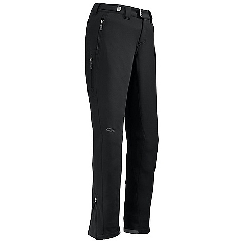 On Sale. Free Shipping. Outdoor Research Women's Salvo Pants DECENT FEATURES of the Outdoor Research Women's Salvo Pants Windproof Highly breathable Water resistant Gore Windstopper construction Two zippered hand pockets Thigh pocket Gusseted crotch Articulated knees Loops for instep lace Zippered fly The SPECS Weight: (M): 17.8 oz / 503 g Fit: Standard Inseam: 33 1/2in. / 85 cm Fabric: 100% polyester, 3-layer Gore Windstopper soft shell This product can only be shipped within the United States. Please don't hate us. - $170.99