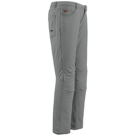 Free Shipping. Outdoor Research Men's Rambler Pants DECENT FEATURES of the Outdoor Research Men's Rambler Pants Durable Breathable Wicking Jean-style soft shell Snap and zipper fly Front slash, back patch pockets Articulated knees Smooth fit under harness The SPECS Weight: 14.2 oz / 402 g Standard Fit Inseam: 32 7/8in. / 83 cm 50% nylon, 43% polyester, 7% spandex double stretch woven softshell This product can only be shipped within the United States. Please don't hate us. - $98.95