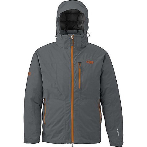 On Sale. Free Shipping. Outdoor Research Men's Stormbound Jacket DECENT FEATURES of the Outdoor Research Men's Stormbound Jacket Waterproof Breathable 650+ fill down insulation in hood and body Thermore 60 g below powder skirt and in collar Integrated RECCO reflector Removable powder skirt with Lock Down technology Fully seam taped Tonal seam treatment Water resistant zippers Adjustable and removable hood fits over helmet Zip-out balaclava with tuck-away pocket for next-to-skin warmth Double-sliding pit zippers for ventilation Inner lift pass pocket with drawcord key-clip attachment Thumb Drive hook/loop cuff closures The SPECS Weight: (L): 37.9 oz / 1075 g Fit: Relaxed Center Back Length: 32in. / 81 cm Fabric: 68% polyester 32% nylon 75D 2-layer Pertex Shield This product can only be shipped within the United States. Please don't hate us. - $246.99