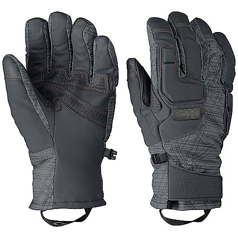 Free Shipping. Outdoor Research Men's Knuckleduster Glove DECENT FEATURES of the Outdoor Research Men's Knuckleduster Glove Insulation: 340g polyfil at back of hand; 200g at palm side Leather palm with perforated leather reinforcement panels EVA foam panels at back of hand Soft tricot lining Stylish metal rivet Soft nose wipe on thumb Glove Clip The SPECS Weight: (L, per pair): 6.9 oz / 196 g Fabric: Ventia Dry construction Shell fabrication is a mix of water-repellent leather with nylon dobby fabric featuring an outerwear print This product can only be shipped within the United States. Please don't hate us. - $78.95