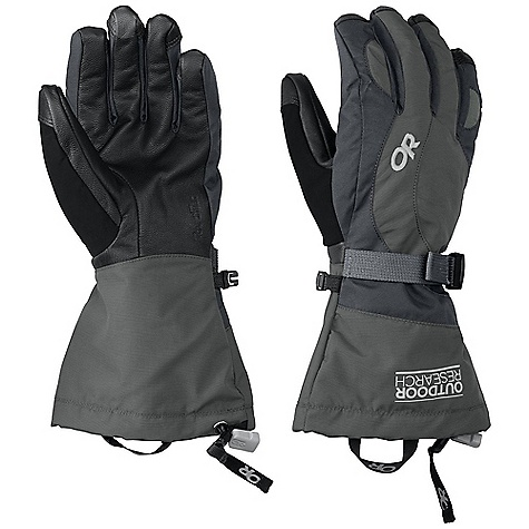 Free Shipping. Outdoor Research Women's Ambit Glove DECENT FEATURES of the Outdoor Research Women's Ambit Glove Waterproof Breathable TouchTec Leather palm technology allows use of touch screen mobile deviceswith gloves on Leather palm provides solid grip of poles and tools EnduraLoft insulation: 266g on back of hand and thumb Soft fleece lining at palm Tricot lining at back of hand Flex Action wrist articulation matches natural, active-hand position whileskiing Pre-curve construction Ladder-lock wrist cinch with easy-grip tab Soft nose wipe on thumb SuperCinch gauntlet closure The SPECS Weight: (M, per pair): 6.2 oz / 175 g Fabric: Ventia Dry construction Durable nylon shell back of hand Ripstop gauntlet This product can only be shipped within the United States. Please don't hate us. - $104.95