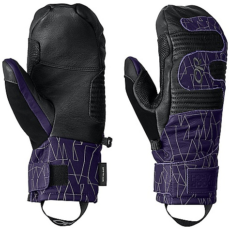 On Sale. Free Shipping. Outdoor Research Women's Point'n Chute Mitt DECENT FEATURES of the Outdoor Research Women's Point'n Chute Mitt Waterproof Windproof Breathable Wicking Soft and Tactile Leather Palm Leather Overlays on Palm for Durability Back-of-Hand EVA Foam Padding Hook and Loop Wrist Closure Nose Wipe on Thumb Pull Loop Under cuff Construction The SPECS Weight: (M, per pair): 7.0 oz / 1198 g Comfort Range: -5/25deg F / -21/-4deg C Gore-Tex insert PrimaLoft 100% polyester insulation PrimaLoft One Insulation: 266 g at back of hand PrimaLoft Sport 100% insulation, 170 g at palm Goat leather palm and back of hand Gore-Tex Fixed Insulation Leather Palm This product can only be shipped within the United States. Please don't hate us. - $88.99