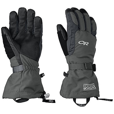 On Sale. Free Shipping. Outdoor Research Ambit Glove DECENT FEATURES of the Outdoor Research Ambit Glove Waterproof Breathable TouchTec Leather palm technology allows use of touch screen mobile deviceswith gloves on Leather palm provides solid grip of poles and tools EnduraLoft insulation: 266g on back of hand and thumb Soft fleece lining at palm Tricot lining at back of hand Flex Action wrist articulation matches natural, active-hand position whileskiing Pre-curve construction Ladder-lock wrist cinch with easy-grip tab Soft nose wipe on thumb SuperCinch gauntlet closure This product can only be shipped within the United States. Please don't hate us. - $62.99