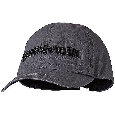 Patagonia Logo Hat DECENT FEATURES of the Patagonia Logo Hat Shallow-crown hat with a classic 6-panel fit Pliable bill for comfort Moisture-wicking headband Low-profile, adjustable quick-release buckle in back The SPECS Adjustable fit Weight: 2.9 oz / 82 g 5.2-oz 100% organic cotton canvas This product can only be shipped within the United States. Please don't hate us. - $29.00