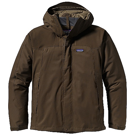 Free Shipping. Patagonia Men's Storm Jacket DECENT FEATURES of the Patagonia Men's Storm Jacket 2-layer 100% recycled polyester shell with a waterproof/breathable H2No barrier and Deluge DWR (durable water repellent) finish for storm protection; interior hanging mesh and taffeta liner for greater comfort; shoulder and elbow reinforcements for durability 2-way-adjustable hood; soft microfleece-lined chin guard Center-front-zipper with storm flap seals out water Pit zips with storm flaps Pockets: Two handwarmers have watertight, coated zippers with storm flaps; one left chest under the center-front storm flap; one internal security pocket Elastic cuffs secure with self-fabric tab Drawcord hem Regular fit The SPECS Weight: 28.5 oz / 808 g Fabric: Shell: 2-layer, 4.4-oz 75-denier 100% recycled polyester double ripstop Reinforcements: 2-layer, 7.8-oz 150-denier 100% recycled polyester canvas Shell and reinforcements have a waterproof/breathable H2No barrier and a Deluge DWR (durable water repellent) finish Lining: 2.3-oz 75-denier 100% polyester (52% recycled) taffeta This product can only be shipped within the United States. Please don't hate us. - $249.00