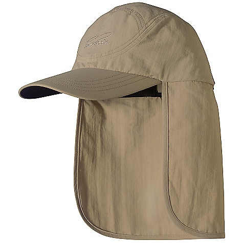 Patagonia Bimini Cap DECENT FEATURES of the Patagonia Bimini Cap Fixed drape on flap covers entire back of neck Coolmax headband wicks moisture Dark underside of bill reduces glare Adjustable rear buckle with elastic for a snug fit The SPECS Adjustable fit Weight: 3.5 oz / 99 g 4.2-oz 100% nylon Supplex with a DWR (durable water repellent) finish and 50+ UPF sun protection This product can only be shipped within the United States. Please don't hate us. - $35.00