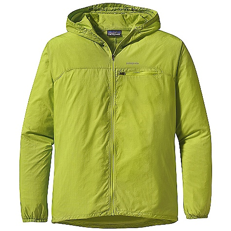 Free Shipping. Patagonia Men's Houdini Full-Zip Jacket DECENT FEATURES of the Patagonia Men's Houdini Full-Zip Jacket Highly breathable, incredibly light textured soft-shell fabric has a strong triple-ripstop pattern and a subtle, slightly transparent appearance Incredibly light textured soft shell, made of slightly transparent, highly breathable, strong triple-ripstop nylon Shell fabric is treated with a Deluge DWR (durable water repellent) finish Deluge DWR-coated center-front zipper Zippered exterior chest pocket doubles as a stuff sack and has a reinforced carabiner clip loop Hood opening and field-of-vision adjustment in one pull Elastic cuffs Drawcord hem Can be worn over baselayers and light midlayers Reflective heat-transfer logo at left chest The SPECS Slim fit Weight: 4.3 oz / 121 g 1-oz 15-denier 100% nylon ripstop with a Deluge DWR (durable water repellent) finish This product can only be shipped within the United States. Please don't hate us. - $125.00