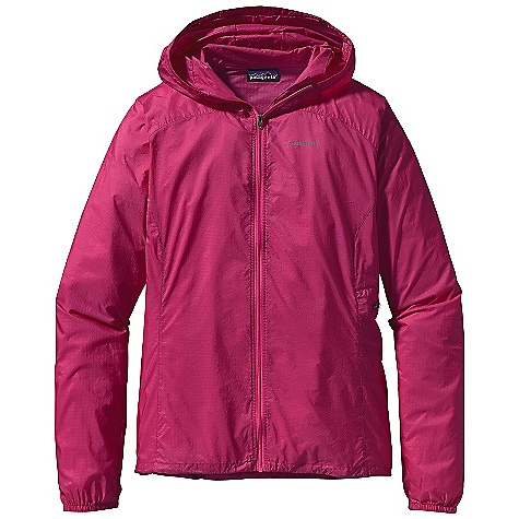 On Sale. Free Shipping. Patagonia Women's Houdini Full-Zip Jacket DECENT FEATURES of the Patagonia Women's Houdini Full-Zip Jacket Highly breathable, incredibly light textured soft-shell fabric has a strong triple-ripstop pattern and a subtle, slightly transparent appearance Shell fabric is treated with a Deluge DWR (durable water repellent) finish Deluge DWR-coated center-front zipper Zippered exterior chest pocket doubles as a stuff sack, with a reinforced carabiner clip loop Hood opening and field-of-vision adjustment in one pull Elastic cuffs Drawcord hem Can be worn over base layers and light midlayers Reflective heat-transfer logo Nylon ripstop is treated with a Deluge DWR (durable water repellent) finish The SPECS Slim fit Weight: 4 oz / 113 g 1-oz 15-denier 100% nylon ripstop with a Deluge DWR (durable water repellent) finish This product can only be shipped within the United States. Please don't hate us. - $67.99