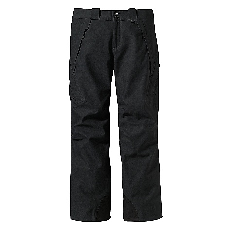 Ski On Sale. Free Shipping. Patagonia Men's Rubicon Pants DECENT FEATURES of the Patagonia Men's Rubicon Pants 2-layer extremely tough nylon with a waterproof/breathable H2No barrier and Deluge DWR (durable water repellent) finish Combination of brushed and slick mesh lining keeps you warm and wicks away moisture Waist details: Soft brushed tricot lining wicks moisture Adjustable elastic tabs customize the fit Two button closure and zip fly Loops on rear yoke securely attach pant to powder skirt on any Patagonia Ski/Snowboard Jacket to keep snow out Exterior thigh vents quickly release heat Articulated knees improve mobility Gaiters keep the snow out, while tough scuff guards protect inside of leg and bottom hem Pockets: Two handwarmers and two thigh (left is a hook-and-loop top loader with an integrated pass holder and right is a secure side-zip) Accessible when sitting or standing The SPECS Relaxed fit Weight: 37 oz / 1049 g 2-layer, 6.9-oz 70-denier 100% stretch-woven nylon with a waterproof, breathable H2No barrier and a Deluge DWR (durable water repellent) finish Seat and Thighs Lining: 100% polyester brushed mesh Lower Legs Lining: 100% polyester mesh This product can only be shipped within the United States. Please don't hate us. - $160.99