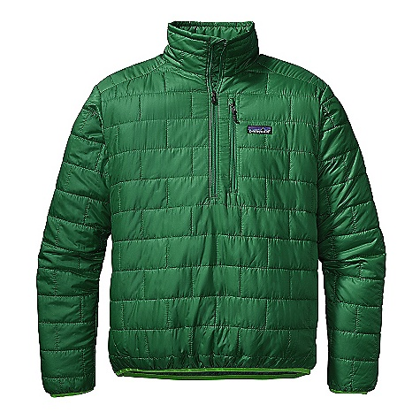 Free Shipping. Patagonia Men's Nano Puff Pullover DECENT FEATURES of the Patagonia Men's Nano Puff Pullover Lightweight ripstop recycled polyester shell fabric has a Deluge DWR finish Lightweight 60-g Prim aloft One insulation provides excellent warmth and compressibility Brick quilting pattern with horizontal quilt lines on side panels uses durable thread for improved abrasion-resistance Easy venting, deep center-front zipper has wicking interior storm flap and zipper garage at chin for next-to-skin comfort Left chest pocket has clean finished zipper garage and doubles as a self-stuff sack with a reinforced carabiner clip-in loop Elasticized cuffs and hem seal out wind The SPECS Regular fit Weight: 9.2 oz / 261 g Shell and Lining: 1.4-oz 22-denier 100% recycled polyester with a Deluge DWR (durable water repellent) finish Insulation: 60-g PrimaLoft One 100% polyester This product can only be shipped within the United States. Please don't hate us. - $169.00
