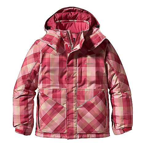 Ski On Sale. Free Shipping. Patagonia Kids' Sidewall Jacket (Fall 2009) DECENT FEATURES of the Patagonia Kids' Sidewall Jacket Durable yet flexible 2-layer shell features H2No waterproof/breathable barrier and Deluge DWR (durable water repellent) finish for all-condition performance Lightweight, compressible 150-gram 100% Thermo green polyester (90% recycled), stays warm even when wet and is wind resistant Removable hood secures with zip and snap as needed head protection and warmth Polyester printed lining is durable and glides smoothly over under layers Removable hood has draw cord closure and smaller diameter opening to repel elements and improve warmth Fleece lined collar and chin flap is super-soft and eliminates zipper rub Articulated arms improve mobility and includes grow-fit feature which adds 2in. in sleeve length Cuffs adjust with hook and loop closures Insulated oversized hand warmer pockets with extra room for gloves or goggles Right pocket has additional external pocket for quick stashing needs Hidden chest zip pocket and internal mesh drop-in pocket, full length wind flap, and mini powder skirt seals out snow and snap-loops to coordinate with the Kids' Snow Patrol Pants Integrated draw cord and cord locks at bottom hem secure fit Hand-me-down ID label inside Reflective heat transfer logo The SPECS Weight: 36 oz / 1021 g Shell and Lining: 2-layer, 6-oz 150-denier 100% all-recycled polyester with a waterproof/breathable H2No barrier and Deluge DWR (durable water repellent) finish Lining: 2-oz (prints 2.7-oz) 100% polyester (prints 100% recycled) Insulation: 150-g Thermo green polyester (90% recycled) This product can only be shipped within the United States. Please don't hate us. - $159.99