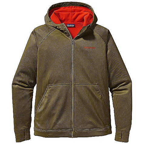 Free Shipping. Patagonia Men's Slopestyle Hoody DECENT FEATURES of the Patagonia Men's Slopestyle Hoody Soft, stretchy polyester sheds moisture and light snow High collar with brushed fleece interior for warmth and protection Cozy fleece-lined hood draw cords cinch down for extra protection on blustery days not helmet-compatible Cuffs feature thumb loops for wrist coverage Hem cinches to keep out cold draw cord exits into hand warmer pockets for adjustment Zippered pockets: two hand warmers and two hidden security The SPECS Relaxed fit Weight: 20.9 oz / 592 g 7.5-oz 75-denier 100% polyester knit bonded to polyester micro fleece with a DWR finish This product can only be shipped within the United States. Please don't hate us. - $139.00