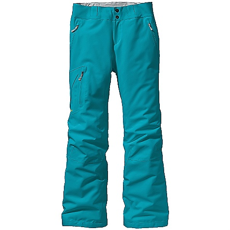 Ski On Sale. Free Shipping. Patagonia Women's Insulated Powder Bowl Pant (Fall 2010) DECENT FEATURES of the Patagonia Women's Insulated Powder Bowl Pant Durable, abrasion-resistant 2.5-layer midweight canvas shell fabric (100% recycled polyester) Waist details: soft brushed tricot lining wicks moisture Two-button closure and wide, fully-adjustable elastic customize the fit zip fly Pockets: Two hand warmers Right thigh pocket with pass holder Outer thigh vents Articulated knees for mobility Fully-featured gaiters with adjustable cam buckles Burly, wrap-around scuff guards protect inside of leg and bottom hem Watertight, coated zippers treated with a Deluge DWR finish for wet-weather protection Loops on rear yoke attach to powder skirt on any Patagonia Ski/Snowboard jackets The SPECS Regular fit Weight: 2 lbs 7 oz / 927 g Body: 2.5-layer, 7.6-oz 150-denier 100% recycled polyester with a waterproof/breathable H2No barrier and a Deluge DWR (durable water repellent) finish Lining: 2-oz 100% polyester plain weave Insulation: 60-g Thermo green 100% polyester (90% recycled) Recyclable through the Common Threads Recycling Program This product can only be shipped within the United States. Please don't hate us. - $212.99