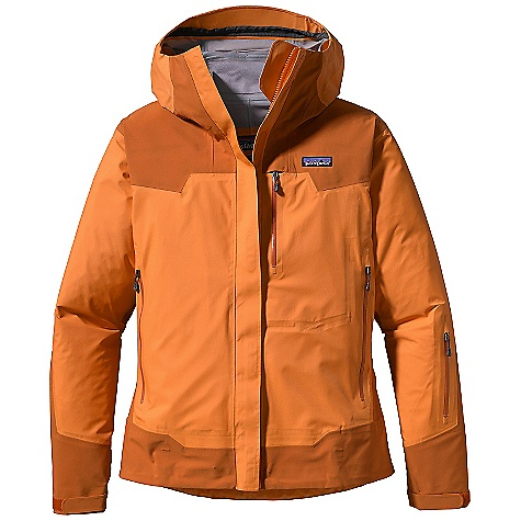 Free Shipping. Patagonia Women's Shelter Stone Jacket DECENT FEATURES of the Patagonia Women's Shelter Stone Jacket Durable 3-layer, stretch-woven nylon ripstop shell with a waterproof/breathable H2No barrier and Deluge DWR finish Reinforcements in shoulders, arms, sides and waist have an H2No barrier and Deluge DWR finish Helmet-compatible, 3-way-adjustable hood Smooth, center-front zipper with storm flap and rain gutter Pockets: Two hand warmers, two chest, all with watertight, coated zippers treated with Deluge DWR finish and zipper garages Internal pockets: one drop-in, one security Watertight, coated pit zips treated with Deluge DWR finish Cuffs secure with supple, self-fabric cuff tabs and elastic Draw cord hem The SPECS Regular fit Weight: 19.2 oz / 544 g Shell: 3-layer, 4.2-oz 50-denier 100% stretch-woven nylon ripstop Reinforcements: 3-layer, 5.1-oz 80-denier 100% stretch-woven nylon ripstop Shell and Reinforcements: Have a waterproof/breathable H2No barrier and a Deluge DWR (durable water repellent) finish This product can only be shipped within the United States. Please don't hate us. - $375.00