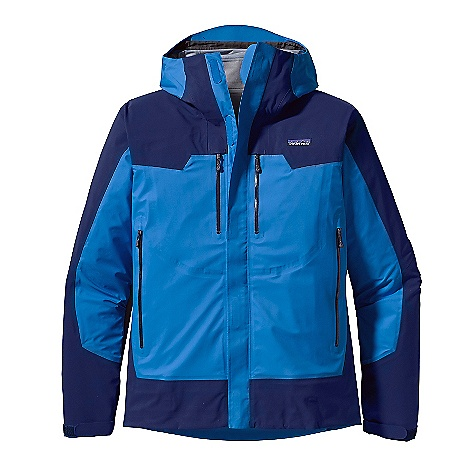 On Sale. Free Shipping. Patagonia Men's Shelter Stone Jacket DECENT FEATURES of the Patagonia Men's Shelter Stone Jacket Durable 3-layer, stretch-woven nylon ripstop shell with a waterproof/breathable H2No barrier and Deluge DWR finish reinforcements in shoulders, arms, sides and waist have an H2No barrier and Deluge DWR finish Helmet-compatible, 3-way-adjustable hood Smooth, center-front zipper with storm flap and rain gutter Pockets: Two hand warmers, two chest, all with watertight, coated zippers treated with a Deluge DWR finish and zipper garages internal pockets: one drop-in, one security Watertight, coated pit zips treated with Deluge DWR finish Cuffs secure with supple, self-fabric cuff tabs and elastic Draw cord hem The SPECS Regular fit Weight: 22.3 oz / 632 g Shell: 3-layer, 4.2-oz 50-denier 100% stretch-woven nylon ripstop Reinforcements: 3-layer, 5.1-oz 80-denier 100% stretch-woven nylon ripstop Shell and reinforcements have an H2No barrier and a Deluge DWR (durable water repellent) finish This product can only be shipped within the United States. Please don't hate us. - $205.99