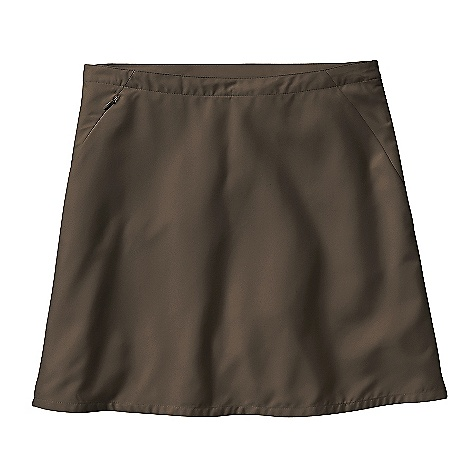 Free Shipping. Patagonia Women's Duway Skirt DECENT FEATURES of the Patagonia Women's Duway Skirt Sanded 100% polyester microfiber with a DWR finish Flattering, curved seams at hip shaping dart at center back Security pocket on right seam zippered side vents for increased mobility Built-in shorts with 3in. inseam The SPECS Regular fit Weight: 6.4 oz / 181 g Length: 17in. 4.1 oz 100% polyester (40% recycled) microfiber with a DWR (durable water repellent) finish This product can only be shipped within the United States. Please don't hate us. - $59.00