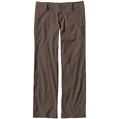 On Sale. Free Shipping. Patagonia Women's Solimar Pants (Spring 2010) DECENT FEATURES of the Patagonia Women's Solimar Pants Lightweight stretch fabric with 30-UPF sun protection and DWR (durable water repellent) finish Waistband with belt loops Zip fly with button closure Patch front pockets with welt openings Mini drop-in pocket on right thigh Straight leg Back seaming and dart for shaping Legs fasten with button for capri length Regular rise The SPECS Slim fit Weight: 6.3 oz / 178 g Inseam: 32in. 3 oz 93% nylon, 7% spandex with 30-UPF sun protection Recyclable through the Common Threads Recycling Program This product can only be shipped within the United States. Please don't hate us. - $40.99