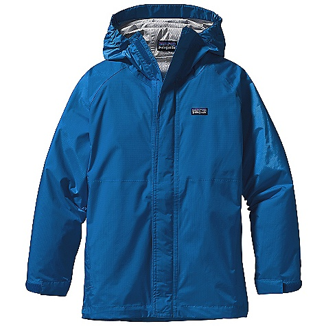 Free Shipping. Patagonia Kids' Torrentshell Jacket DECENT FEATURES of the Patagonia Kids' Torrentshell Jacket Durable H2No Performance Standard 2.5-layer nylon ripstop is waterproof and windproof Snug elastic on sides of hood provide good peripheral vision Built-in visor sheds rain and reduces glare Full-length zipper with chin guard and a storm flap secure with hook-and-loop closures Elasticized cuff with hook-and-loop closure seals out rain Raglan sleeves eliminate shoulder seams for a relaxed fit Two zippered side pockets with reflective zipper pulls One inside drop-in pocket Internal drawcord at hem High-visibility reflective tape across back yoke Hand-me-down ID label The SPECS Relaxed fit Weight: 9.2 oz / 260 g H2No Performance Standard Shell: 2.5-layer, 2.6-oz 50-denier nylon ripstop with a waterproof/breathable barrier and a Deluge DWR (durable water repellent) finish This product can only be shipped within the United States. Please don't hate us. - $89.00