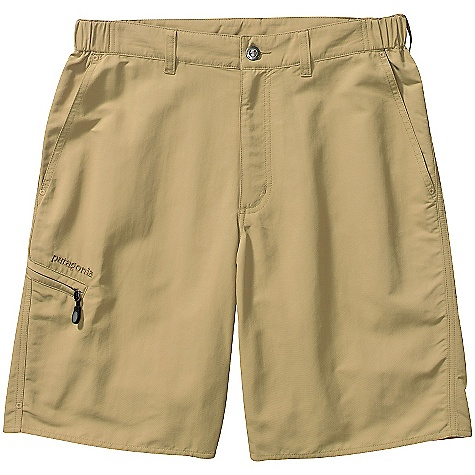 Free Shipping. Patagonia Men's Guidewater Shorts DECENT FEATURES of the Patagonia Men's Guidewater Shorts Tough, lightweight woven nylon dries quickly and provides 50+ UPF sun protection Two front pockets one zippered side-leg pocket, and one rear pocket all have mesh drainage Constructed waist with two stretch sections and zip fly provide all-day comfort and quick relief The SPECS Regular fit Weight: 9 oz / 255 g 4.3-oz 100% nylon with a DWR (durable water repellent) finish and 50+ UPF sun protection Inseam: 10in. This product can only be shipped within the United States. Please don't hate us. - $69.00