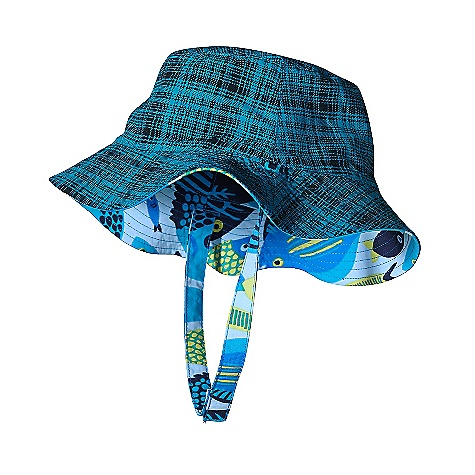 Patagonia Baby Sun Bucket Hat DECENT FEATURES of the Patagonia Baby Sun Bucket Hat Made of durable, lightweight Supplex nylon that dries fast and has a DWR finish Brim shields face, head and neck Buttonholes in hat allow chin straps to thread onto reverse side with a hook-and-loop fastener Reversible style with fun print/solid combinations The SPECS Regular fit Weight: 1.7 oz / 48 g 4-ply, 4.2-oz Supplex 100% nylon with a DWR (durable water repellent) finish This product can only be shipped within the United States. Please don't hate us. - $25.00