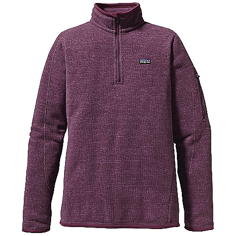 Free Shipping. Patagonia Women's Better Sweater 1-4 Zip DECENT FEATURES of the Patagonia Women's Better Sweater 1/4 Zip Fabric has sweater-knit face, fleece interior and heathered over dye yarns with a knit-like texture Quarter-length front zipper with wind flap and zipper garage Zippered security pocket on sleeve Micro-polyester jersey trims cuffs, wind flap, hem Princess seams at back Hip length The SPECS Slim fit Weight: 15.1 oz / 428 g 9.5-oz 100% polyester with a sweater-knit exterior and fleece interior This product can only be shipped within the United States. Please don't hate us. - $99.00