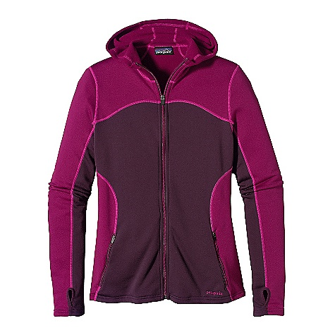 On Sale. Free Shipping. Patagonia Women's Capilene 4 EW Full Zip Hoody DECENT FEATURES of the Patagonia Women's Capilene 4 Expedition Weight Full-Zip Hoody Great stretch, breathability and compressibility Warm brushed-fleece interior moves moisture quickly to the face of the fabric Durable smooth jersey face slides easily beneath layers Slim technical hood Full zip is backed by kissing welts, which offer low bulk comfort next to skin Zippered handwarmer pockets Engineered thumb loops Shoulder yoke, underarm and sleeve seams offset for comfort beneath layers The SPECS Regular fit Weight: 10.3 oz / 292 g Solids: 5.9-oz Polartec Power Dry 94% polyester (53% recycled), 6% spandex Heathers: 5.9-oz Polartec Power Dry 94% polyester (52% recycled), 6% spandex. Both have Gladiodor odor control for the garment This product can only be shipped within the United States. Please don't hate us. - $58.99