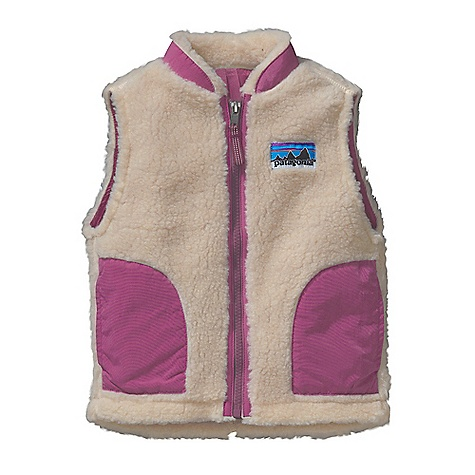 On Sale. Free Shipping. Patagonia Baby Retro-X Vest DECENT FEATURES of the Patagonia Baby Retro-X Vest Soft quarter-inch pile fleece and nylon lining provide wind protection Tapered collar keeps fabric from chafing little chins Durable, Supplex nylon binding on the collar, pockets and front zipper adds strength Double-layer patch handwarmer pockets Retro-style logo on chest Slight drop tail for extra protection Hand-me-down ID label The SPECS Relaxed fit Weight: 5.1 oz / 144 g Fleece: 100% polyester (78% recycled) 1/4in.-pile Lining: 2-oz 100% nylon Trim: 100% Supplex nylon This product can only be shipped within the United States. Please don't hate us. - $46.99