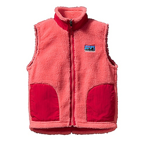 On Sale. Free Shipping. Patagonia Kids' Retro-X Vest DECENT FEATURES of the Patagonia Kids' Retro-X Vest Soft quarter-inch pile fleece and nylon lining for wind protection Stand-up collar with roll-out fleece lining for warmth and won't chafe Durable Supplex nylon contrast on collar, pockets and front-zip binding for a clean finish Double-layer patch hand warmer pockets Slight drop-tail hem; non-chafing flat seams throughout Retro-style logo on chest Hand-me-down ID label The SPECS Relaxed fit Weight: 7.7 oz / 218 g Fleece: 100% polyester (78% recycled) 1/4in. pile Lining: 2-oz 100% nylon Trim: 100% Supplex nylon This product can only be shipped within the United States. Please don't hate us. - $46.99