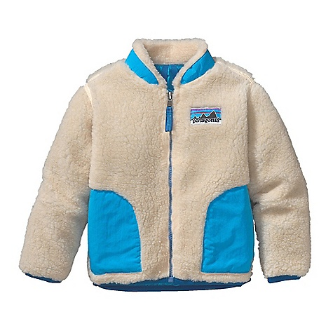 On Sale. Free Shipping. Patagonia Baby Retro-X Jacket DECENT FEATURES of the Patagonia Baby Retro-X Jacket Soft quarter-inch pile fleece and nylon lining provide wind protection Tapered collar keeps fabric from chafing little chins Durable, Supplex nylon binding on the collar, pockets and front zipper adds strength Double-layer patch handwarmer pockets Retro-style logo on chest Slight drop tail for extra protection Hand-me-down ID label The SPECS Relaxed fit Weight: 7.2 oz / 204 g Fleece: 100% polyester (78% recycled) 1/4in.-pile Lining: 2-oz 100% nylon Trim: 100% Supplex nylon This product can only be shipped within the United States. Please don't hate us. - $62.99