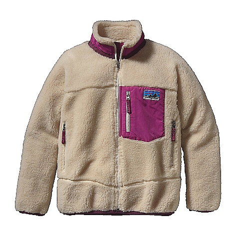 On Sale. Free Shipping. Patagonia Kids' Retro-X Jacket DECENT FEATURES of the Patagonia Kids' Retro-X Jacket Soft quarter-inch pile fleece and nylon lining provide wind protection Stand-up collar with roll-out fleece lining for warmth and won't chafe Y-Joint sleeves Vertical zipper chest pocket with Supplex nylon Two zippered hand warmer pockets lined with moisture-wicking polyester mesh with reflective zipper pulls Slight drop-tail hem non-chafing flat seams throughout Spandex binding at hem and sleeve opening seal out chill Hand-me-down ID label The SPECS Relaxed fit Weight: 13.8 oz / 391 g Fleece: 100% polyester (78% recycled) 1/4in. pile Lining: 2-oz 100% nylon Trim: 100% Supplex nylon This product can only be shipped within the United States. Please don't hate us. - $82.99