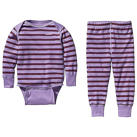 On Sale. Free Shipping. Patagonia Baby Capilene 3 MW Set DECENT FEATURES of the Patagonia Baby Capilene 3 MW Set Polartec Power Dry polyester insulates, breathes and wicks moisture Polyester fabric is brushed inside for softness and has Gladiodor odor control for the garment Grow-fit feature with adjustable side snaps on bodysuit allow 1 1/2in. more growing room Extended self-fabric sleeve and leg cuffs can be rolled down as baby grows Pants have an elasticized waistband and expanded back gusset for more diaper room and mobility The SPECS Regular fit Weight: 6.5 oz / 184 g Solids: 5.4-oz Polartec Power Dry 100% polyester (65% recycled) double knit Stripes: 5.4-oz Polartec Power Dry 100% polyester (56% recycled) double knit Both with Gladiodor odor control for the garment This product can only be shipped within the United States. Please don't hate us. - $34.99