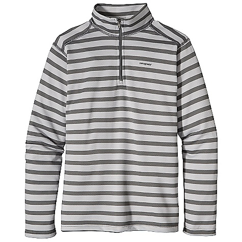 The Kid's Capilene 3 Midweight Zip Neck Top by Patagonia. The versatile, quick-to-dry Kid's Capilene 3 Zip-Neck, made of fast-wicking 100% polyester (56% recycled) and treated with Gladiodor odor control, can be worn alone or with layers. Features of the Patagonia Kids' Capilene 3 Midweight Zip Neck Top Polartec Power Dry polyester insulates, breathes and wicks moisture Polyester fabric is brushed inside for softness with Polygiene permanent odor control Non-chafing flat-seam construction Forward shoulder seams prevent chafe under backpack straps Doubled collar for coverage and warmth Heat-transfer logo - $32.99