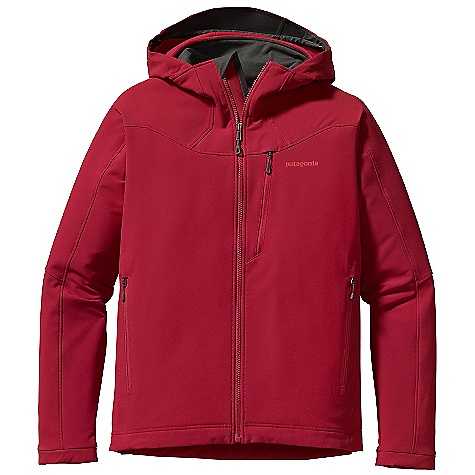 Free Shipping. Patagonia Men's Guide Hoody DECENT FEATURES of the Patagonia Men's Guide Hoody Highly breathable, wind-resistant, recycled polyester double weave with 4-way stretch is treated with a Deluge DWR (durable water repellent) finish for wet-weather protection Helmet-compatible, single-pull hood construction features a laminated visor for enhanced visibility in poor conditions Brushed interior for next-to-skin comfort and moisture management Microfleece-lined collar, chin guard and wind flap Pockets: Two handwarmers with zipper garages, one left chest Deluge DWR-treated zippers on all pockets Articulated sleeves for enhanced mobility and full coverage during long reaches Sleek, low-profile cuffs Dual-adjust drawcord hem The SPECS Weight: 23.3 oz / 661 g Slim fit 7.6-oz 70-denier stretch-woven 92% polyester (47% recycled), 8% spandex with 4-way stretch and a Deluge DWR (durable water repellent) finish Collar: 100% polyester brushed microfleece This product can only be shipped within the United States. Please don't hate us. - $179.00