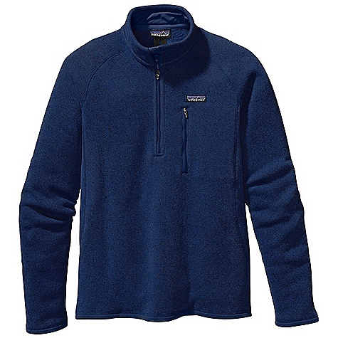On Sale. Free Shipping. Patagonia Men's Better Sweater 1-4 Zip DECENT FEATURES of the Patagonia Men's Better Sweater 1/4 Zip Fabric has a sweater-knit face, fleece interior and heathered yarns 1/4-zip pullover with stand-up collar and zipper garage Raglan sleeves for pack-wearing comfort Zippered chest pocket Micro polyester jersey trim on cuffs, hem and back of neck Can be worn with layers as outerwear or as a midlayer under a shell Hip length The SPECS Regular fit Weight: 17.3 oz / 490 g 9.5-oz 100% polyester with a sweater-knit exterior and a fleece interior This product can only be shipped within the United States. Please don't hate us. - $68.99