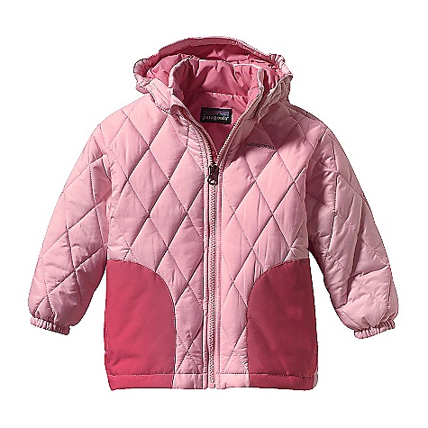 On Sale. Free Shipping. Patagonia Baby Puff Rider Jacket (Fall 2010) DECENT FEATURES of the Patagonia Baby Puff Rider Jacket Soft, ripstop polyester shell treated with a Deluge DWR (durable water repellent) is highly water-resistant Reinforced 2-layer waterproof panels over the elbows and handwarmer pockets prevent wet-through and add abrasion resistance 200-g Quallofil insulation is lightweight, compressible and insulates even when wet Diamond-quilted construction reduces bulk and maintains even warmth Elastic in back hem provides a protective and secure fit Polyester lining is durable and glides smoothly over underlayers Removable snap hood with 3-panel construction and elasticized sides for secure fit Elasticized cuffs, patched handwarmer pockets Full-length wind flap behind zipper with a zipper garage to eliminate chin chafe Grow-fit stitch in sleeves allow for 2in. more growing room Hand-me-down ID label inside Reflective logo The SPECS Relaxed fit Weight: 13.5 oz / 382 g Shell: 3.5-oz 100% polyester variable-ripstop fade with a Deluge DWR finish Lining: 2-oz 100% polyester plain weave Reinforcements: 2-Layer 5.6-oz 100% polyester with a waterproof/breathable H2No barrier and Deluge DWR finish Insulation: 200-g Quallofil polyester Recyclable through the Common Threads Recycling Program This product can only be shipped within the United States. Please don't hate us. - $48.99