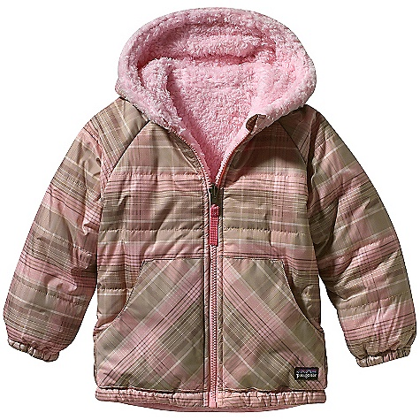 On Sale. Free Shipping. Patagonia Baby Reversible Tribbles Jacket (Fall 2010) DECENT FEATURES of the Patagonia Baby Reversible Tribbles Jacket Wind-resistant quilted shell side is treated with a Deluge (durable water repellent) finish, and reverses to a soft high plush fleece side, insulated with warm 100-g Thermogreen polyester Elasticized hood provides a secure and protective fit Raglan sleeves provides extra mobility Handwarmer pockets on both sides of jacket and shell fabric elbow patches on fleece side for durability Internal elasticized drawcord helps seal out the elements Reflective zipper pull with zipper garage to protect chin Elasticized cuffs to seal out cold The SPECS Relaxed fit Weight: 13.7 oz / 338 g Shell: 2.7-oz 100% recycled polyester with Deluge DWR finish Lining: 8.6-oz 100% polyester high-pile double-faced fleece Insulation: 100-g Thermogreen 100% polyester (90% recycled) Recyclable through the Common Threads Recycling Program This product can only be shipped within the United States. Please don't hate us. - $43.99