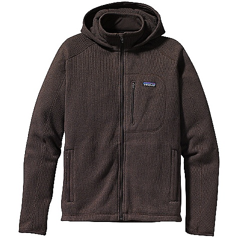 Free Shipping. Patagonia Men's Better Sweater Hoody DECENT FEATURES of the Patagonia Men's Better Sweater Hoody Soft fleece has a sweater-knit face, fleeced interior and heathered overdyed yarns Full-zip hooded jacket with stand-up collar Seams set off-shoulder for pack-wearing comfort Pockets: Zippered left-chest pocket and two zippered handwarmers Micro-polyester jersey on inner stand-up collar and binding of cuffs and hem In cold conditions, can be worn with layers as outerwear or as a midlayer under a shell Hip length The SPECS Regular fit Weight: 23.3 oz / 661 g 9.5-oz 100% polyester with a sweater-knit exterior and fleece interior This product can only be shipped within the United States. Please don't hate us. - $149.00
