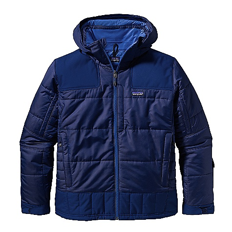Ski On Sale. Free Shipping. Patagonia Men's Rubicon Rider Jacket DECENT FEATURES of the Patagonia Men's Rubicon Rider Jacket Durable, polyester ripstop fabric is breathable and water-resistant H2No Performance Standard 2-layer recycled polyester waterproof/breathable reinforced panels over shoulders, elbows and bottom hem prevent wet through and increase durability Lightweight, compressible 150-g Thermo green insulation stays warm even when wet Removable helmet compatible hood with easy-to-use, single-hand adjustment soft micro fleece panels at back of neck and chin pit zips quickly vent heat articulated arms increase mobility Removable, lightweight stretch-woven powder skirt with snap secures webbing loop at center back and connects to any Patagonia Snow pants Zippered pockets: two hand warmers one chest, includes secure media pocket with cable routing one internal drop-in for goggles and gloves one internal stash Adjustable low-profile cuff secures over or under gloves draw cord hem draw cord exits into hand warmers for adjustment RECCO avalanche rescue reflector embedded in back of neck The SPECS Relaxed fit Weight: 48.2 oz / 1366 g Shell: 2-layer, 4.2-oz 75-denier 100% polyester ripstop with a Deluge DWR (durable water repellent) finish Reinforcement: H2No Performance Standard shell: 2-layer, 4.8-oz 75-170 denier 100% recycled polyester with a waterproof/breathable barrier and a Deluge DWR finish Lining: 2.7-oz 100% recycled polyester plain weave with DWR finish Powder Skirt: 3.5-oz 91% eco polyester and 9% spandex Insulation: 150-g Thermogreen100% polyester (90% recycled) This product can only be shipped within the United States. Please don't hate us. - $173.99