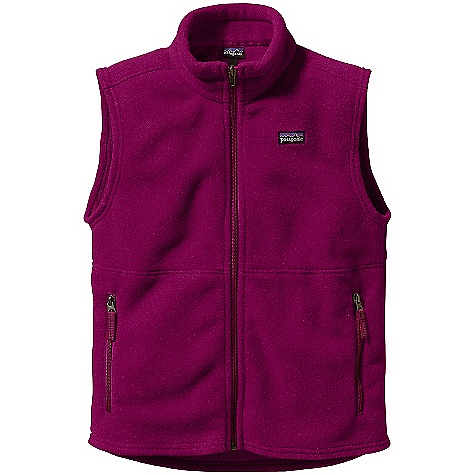 Free Shipping. Patagonia Kids' Synchilla Vest DECENT FEATURES of the Patagonia Kids' Synchilla Vest Soft recycled polyester double-faced fleece provides core warmth Two zippered hand warmer pockets Reflective patch on collar and reflective zipper pulls Drop-tail hem for extra protection Hand-me-down ID label inside The SPECS Regular fit Weight: 7 oz / 198 g 7.6-oz 100% polyester (85% recycled) double-faced fleece This product can only be shipped within the United States. Please don't hate us. - $59.00