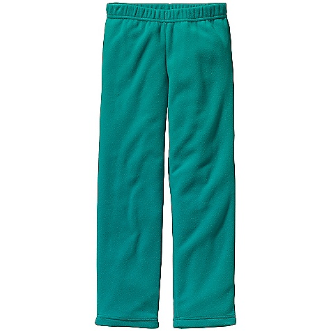 Patagonia Kids' Micro D-Luxe Bottoms DECENT FEATURES of the Patagonia Kids' Micro D-Luxe Bottoms Warm and lightweight micro denier recycled polyester fleece Comfortable self-fabric elasticized waistband Non-chafing flat-seam construction Slightly relaxed leg opening for additional layers The SPECS Regular fit Weight: 5.5 oz / 156 g 4.6-oz micro denier 100% polyester (87% recycled) fleece This product can only be shipped within the United States. Please don't hate us. - $35.00